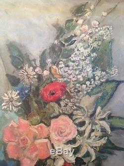 Marthe LEBASQUE (1895-) Tableau ancien Bouquet de fleurs Huile sur toile