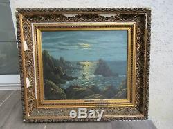 Michel Hernandez, paysage marine peinture huile sur toile ancienne