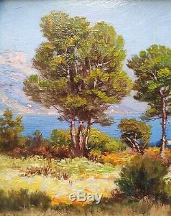 Morel De Tanguy, Vue Du Cap Ferrat, Huile Sur Bois, Tableau ancien