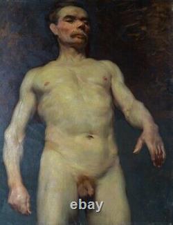 Nu masculin Grande huile sur toile Tableau original ancien