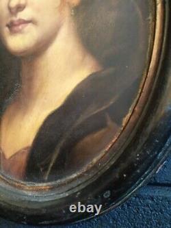 PEINTURE ANCIENNE HUILE SUR CUIVRE -PORTRAIT DE FILLE- ITALIE 19ème SIECLE