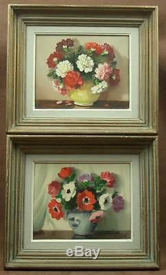 Paire De Peintures Anciennes Huile Sur Toile Nature Morte Aux Fleurs Signees