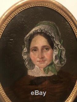 Paire Portrait Ancien Huile Sur Toile Encadrement Bois Dore