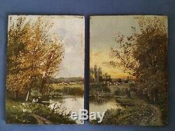 +++ Paire de tableaux anciens sur panneau Ecole de Barbizon XIXème +++