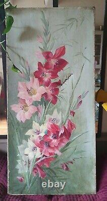 Paire grands tableaux anciens peinture huile sur toile nature morte iris