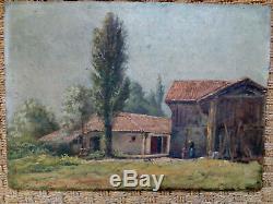 Paysage/Ferme en Vendée -France huile ancienne sur bois XIXème