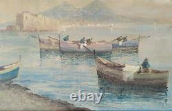 Paysage Marin du Golfe de Naples, Peinture Ancienne à l'huile sur toile signée