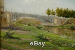 Paysage au pont Eiffel Huile sur carton Ch Cadoret 1900 Peinture tableau ancien
