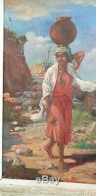Peinture A L Huile Ancienne Sur Toile Orientaliste A Ramandy 1925 Malgache