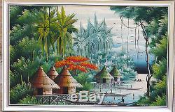 Peinture Africaine ancienne sur toile vers 1950