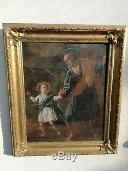 Peinture Ancien Huile sur Toile École Emiliana Saint Joseph Enfant Jésus XVIII