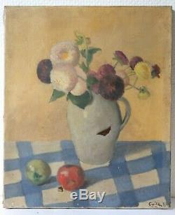 Peinture Ancienne Bouquet de Fleurs Violette Huile sur Toile signé 1938