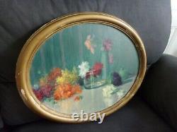 Peinture Ancienne Fleurs/ Signee Smetana Huile Sur Panneau
