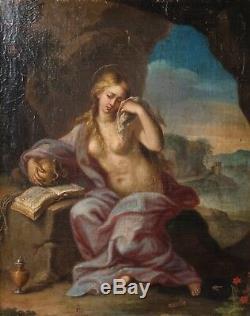 Peinture Ancienne Huile sur toile 18 eme, Sainte Marie Madeleine xviii