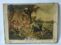 Peinture Ancienne huile du XIXe siècle Scène de chasse Huile sur toile