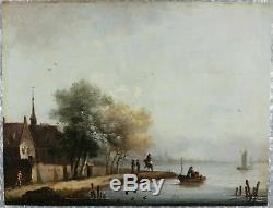 Peinture Ancienne huile sur bois originale du XIXe siècle Paysage flamand
