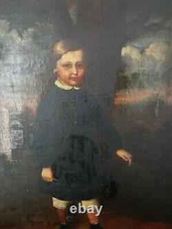 Peinture Ancienne, huile sur toile XIX ème, représentant un enfant dans un parc