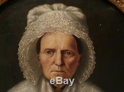 Peinture Ancienne, huile sur toile, portrait de femme XIX ème s