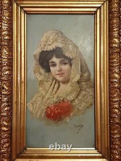 Peinture Ancienne, portrait de femme, huile sur panneau fin XIX ème s