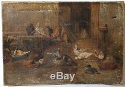 Peinture Tableau Ancien Huile sur Toile XIXème, Basse-court, Poules, Animaux