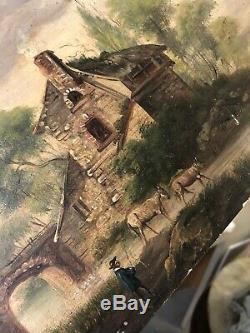 Peinture XIXeme Ancien École Française French Painting Huile sur Panneau ne