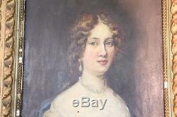 Peinture à l'huile ancienne sur table portrait de jeune femme fin 19ème siècle
