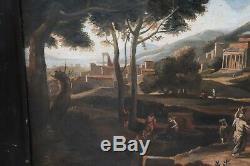 Peinture à l'huile ancienne sur toile de paysage avec figures Sec XVIII