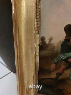 Peinture ancienne, groupe de personnage, huile sur toile, XIX ème s