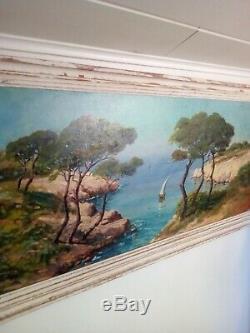 Peinture ancienne sur panneau signé paysage marin, JP rougier 1950