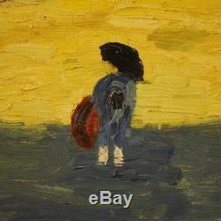 Peinture français carré huile sur toile signé corrida style ancien