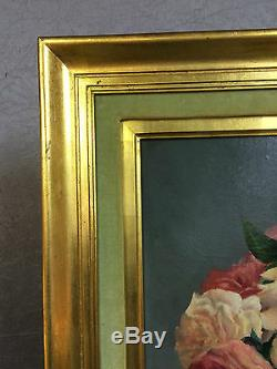 Peinture / huile sur toile ancienne 1988 signée (E. TINEL) nature morte encadrée