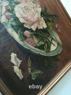 Peinture huile sur toile ancienne /nature morte /roses / H. Cayrel