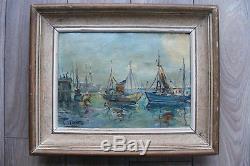 Peinture huile sur toile marine ancien tableau signé Léopold Lecomte