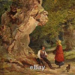 Peinture huile sur toile tableau ancien signé paysage cadre 800 XIXème sicle