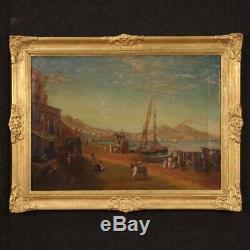 Peinture marine paysage tableau style ancien huile sur toile port de Naples 900