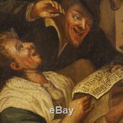 Peinture tableau ancien cadre français huile sur toile scène populair 700 XVIII