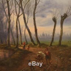 Peinture tableau ancien huile sur toile paysage avec personnages cadre 800