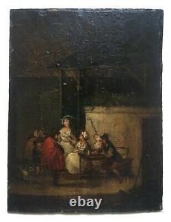 Petit tableau ancien, Scène de taverne, Huile sur panneau, Teniers, XVIIIe