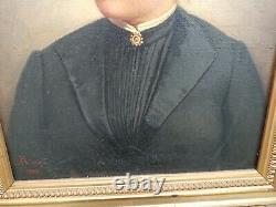 Portrait Ancien de femme huile sur toile époque XIXème SignéRIVES/1898