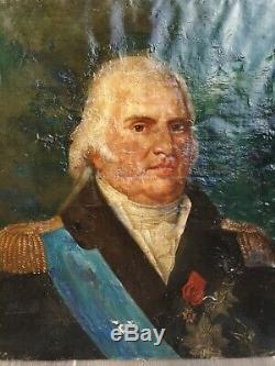 Portrait Ancien huile sur toile Louis XVIII