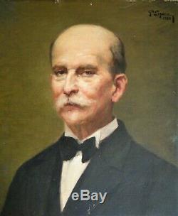 Portrait D'homme Peinture Ancienne Huile Sur Toile Art Deco costume xixe 1933