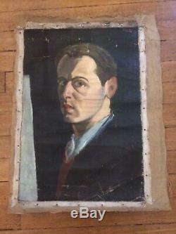 Portrait D'homme Peinture Ancienne Huile Sur Toile. Moderniste Art Deco