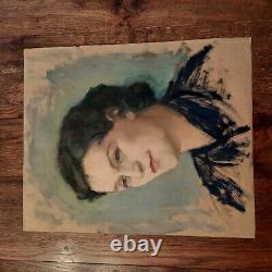 Portrait Huile Sur Papier Kraft Tableau Ancien