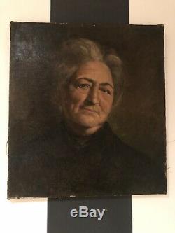 Portrait Huile Sur Toile Ancienne Reentoile