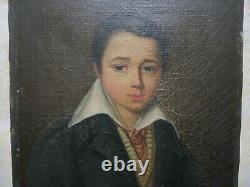 Portrait ancien, portrait d'un jeune homme, huile sur toile, signé, 1830