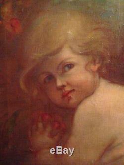 Portrait d'enfant ange putti huile sur toile ancienne XIX Celestin Nanteuil