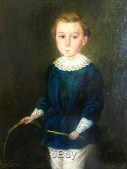 Portrait d'enfant au cerceau XIX huile sur toile ancienne jeune garçon