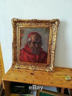 Portrait d'un cardinal huile sur toile ancienne fin 19 début 20ème
