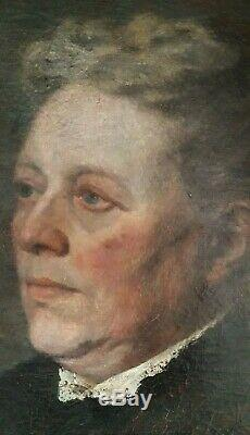 Portrait de Vieille Dame Elégante Huile sur Toile Ancienne Monogramme1907
