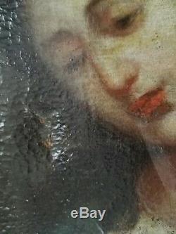 Portrait de femme Huile sur toile ancienne peinture tableau 17 18ème siècle